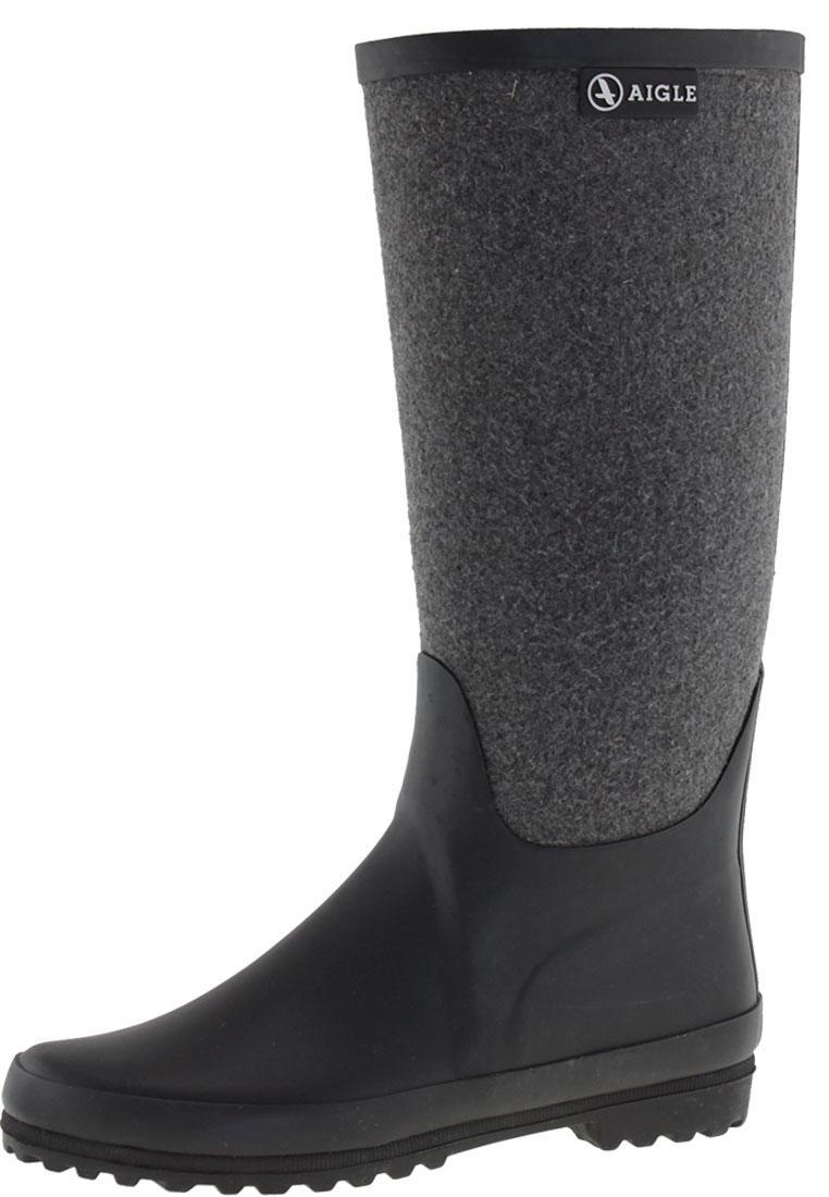 Aigle VENISE FEUTRE noir/gris Women's Rubber Boots