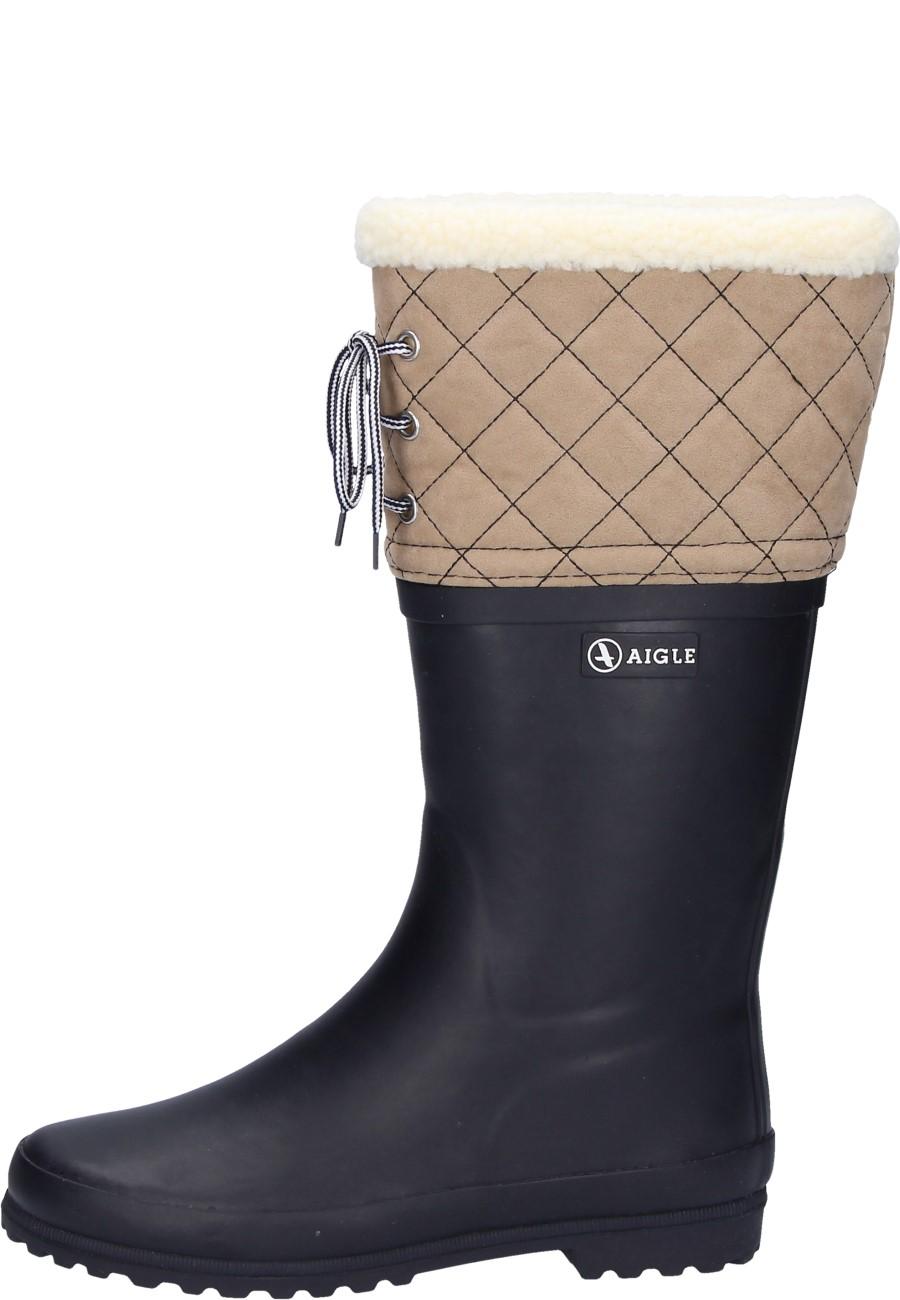 Aigle POLKA GIBOULEE marine/beige winter rubber boots