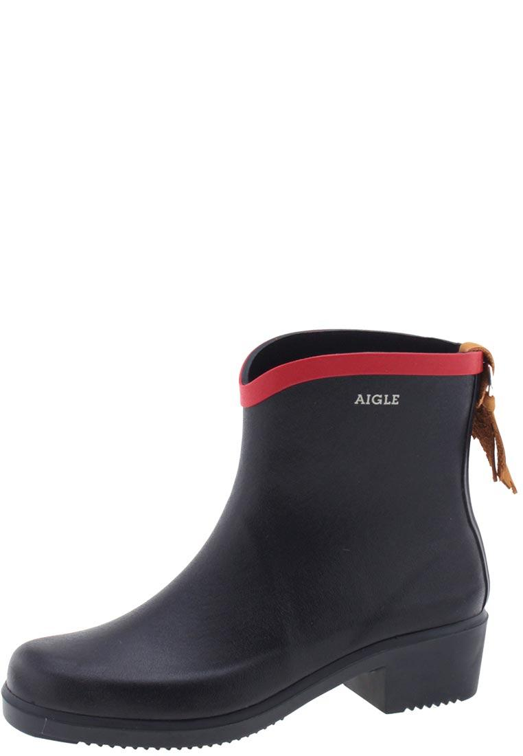 Aigle Miss Juliette Navy Blue Red Ankle Rubber Boots