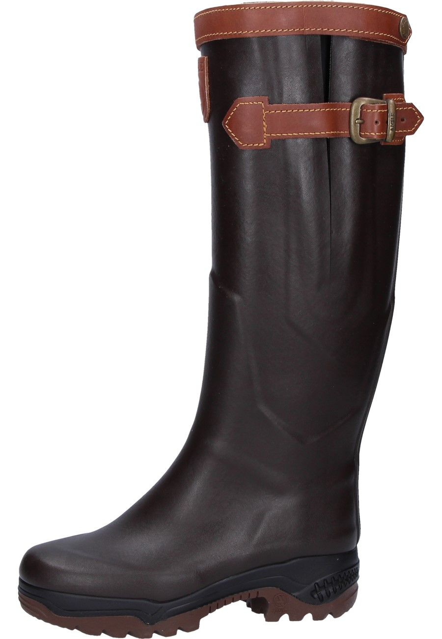 455f4056034 Aigle -PARCOURS 2 SIGNATURE- Rubber Boots in brown – a high-tec welly with  leather lining