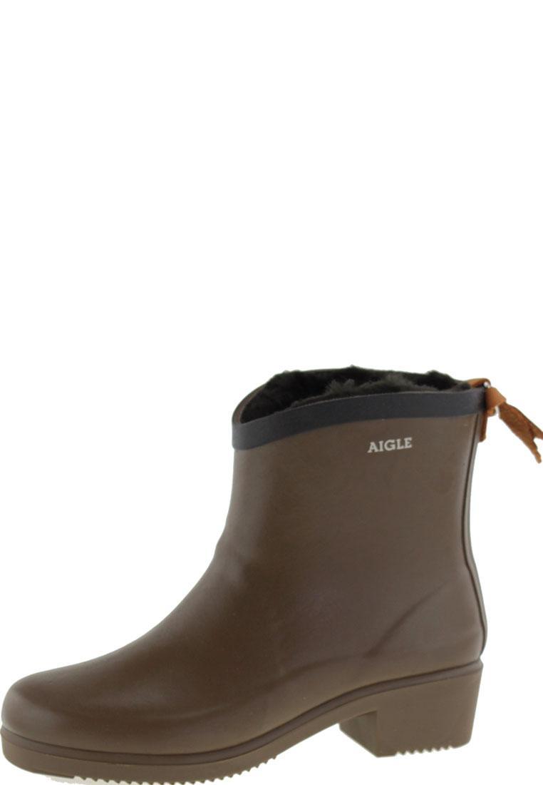 aigle miss juliette bottillon fur chaudron/noir ankle rubber boots