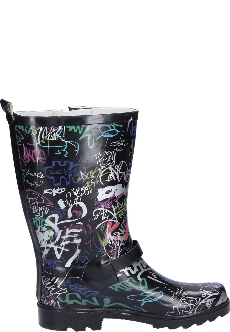 Women 180 S Rubber Boot Graffiti Black By Alois Beck