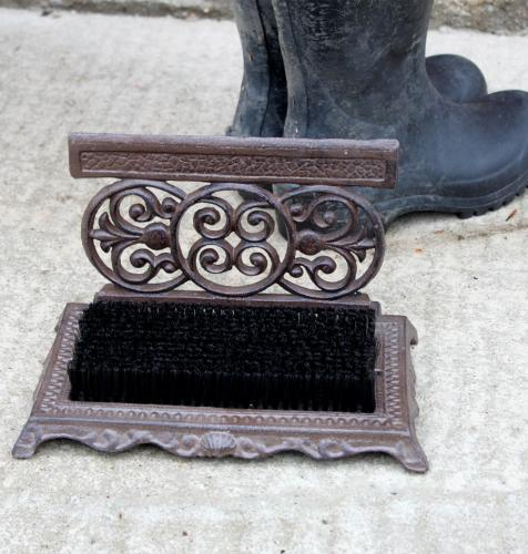decorative cast iron shoeboot scraper with brush by esschert design