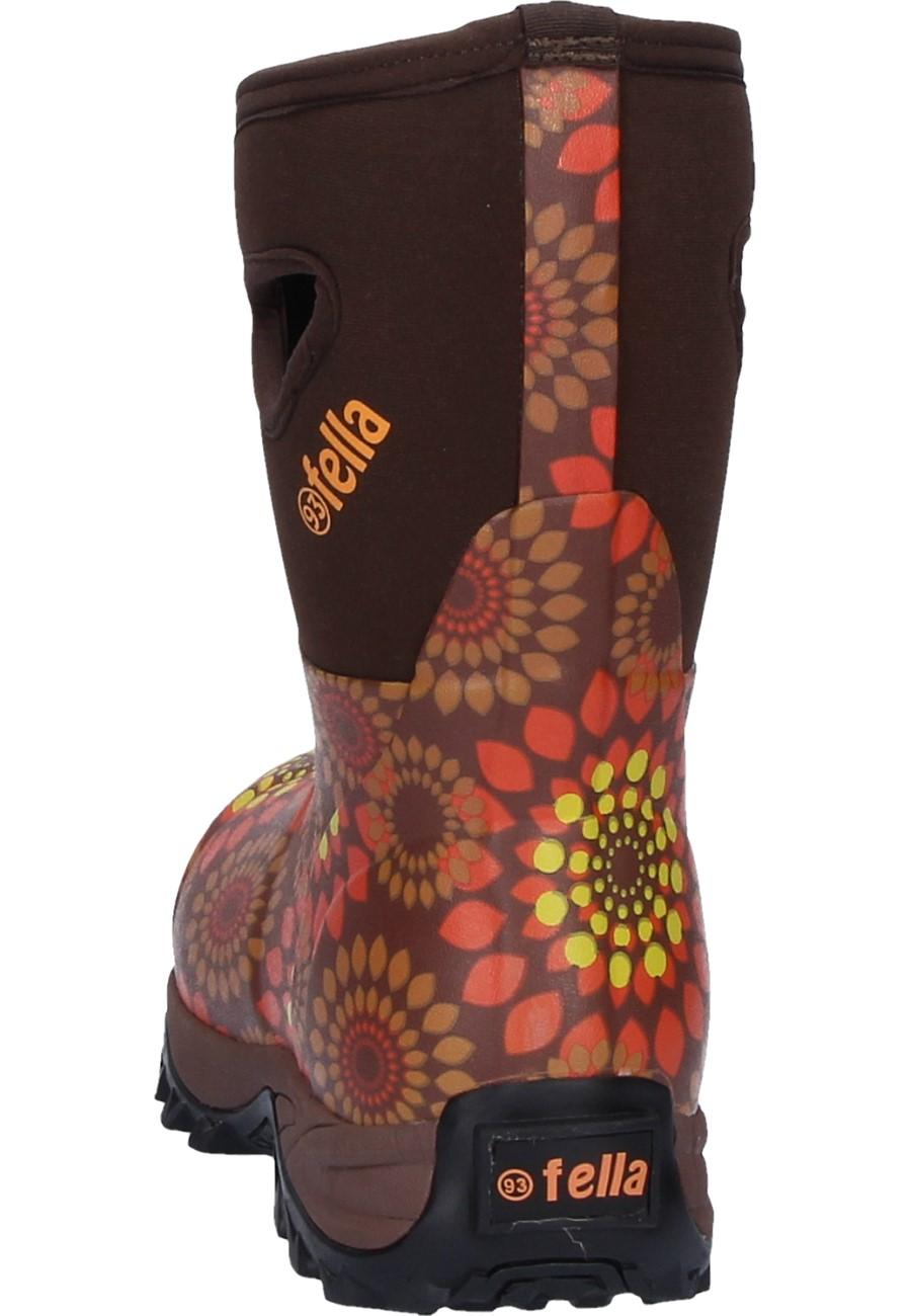 Fella Winni Short Brown Orange Women S Rubber Boots