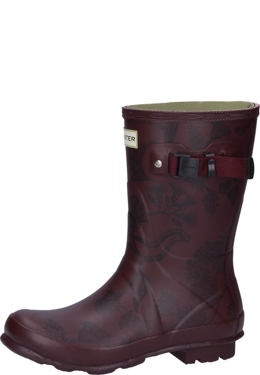 a5d5e02d6ea Wellington Boots NORRIS FIELD BOOT PRINTED SHORT burgundy by Hunter