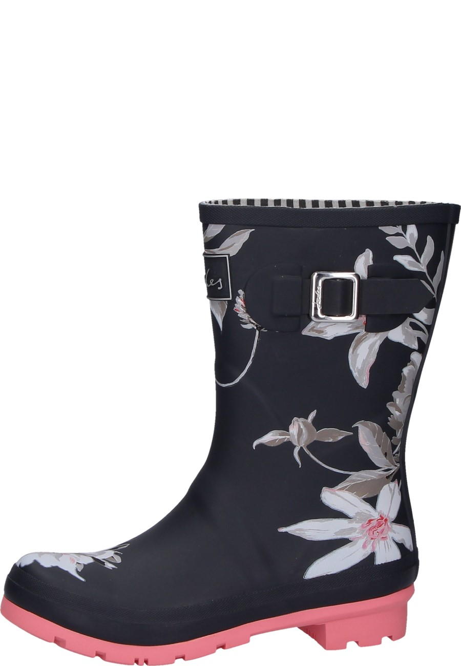 Molly Welly Dark Gray Floral | A Joules