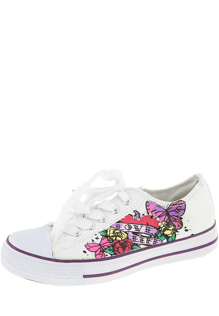 Trendy White Ankle-High Canvas Shoes
