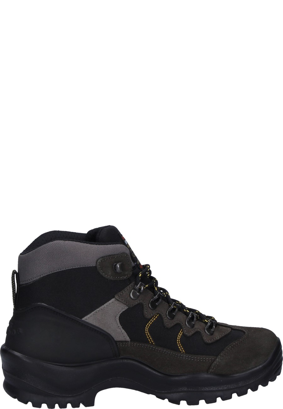 548acbbd75342 ... Grisport Ankle High Trekking Shoe in grey/black made from Nubuck  leather/Nylon mesh ...