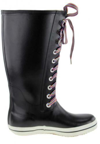 Viking Retro black Striped Ladies Rubber Boots a top rain boot in a new retro look